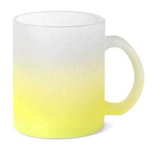 Caneca de Vidro Jateado Degrade Verde Limão - 325ML