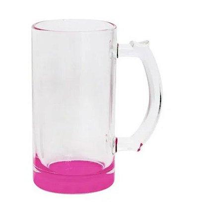 Caneca de Chopp Lisa em Vidro Cristal Degrade Rosa - 475ml