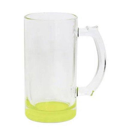 Caneca de Chopp Lisa em Vidro Cristal Degrade Amarelo - 475ml