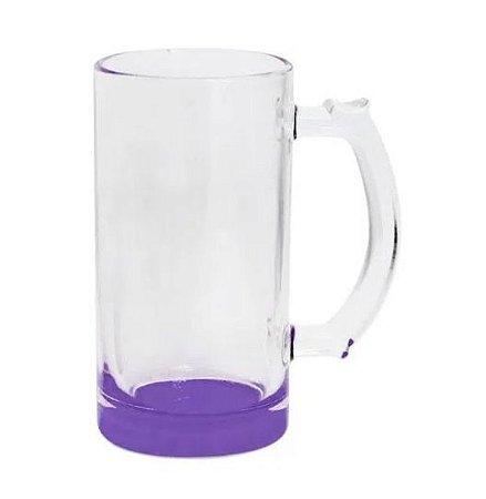 Caneca de Chopp Lisa em Vidro Cristal Degrade Roxa - 475ml