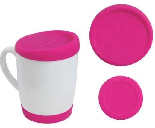 Kit Tampa e Base de Silicone para Canecas 300ml - Pink