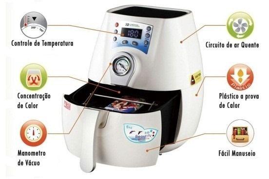 Mini Prensa Térmica De Sublimação 3d A Vácuo Branca 220v