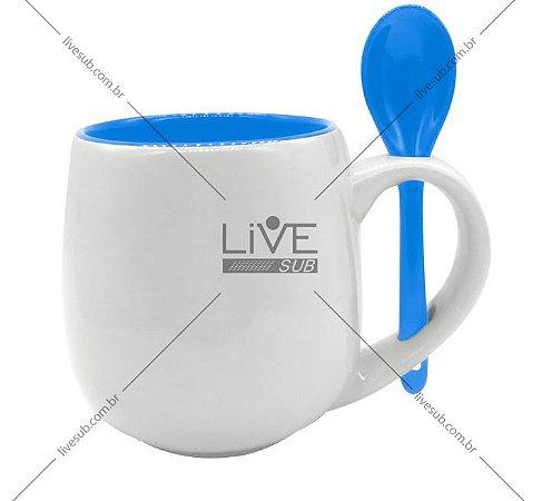 Caneca Branca Belly com colher e Interior Azul - 295ml