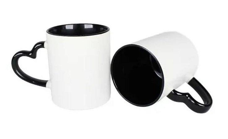 36 Caneca Love Branca para Sublimação com Alça e Interior Preto
