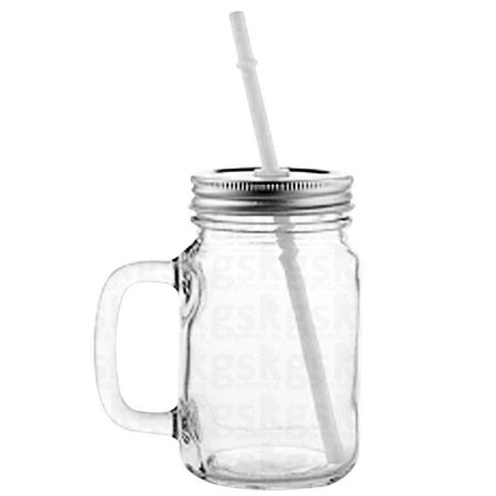 Caneca Mason Jar de Vidro Cristal - 430ml