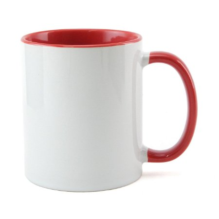 Caneca para Sublimação de Cerâmica Branca com Alça e Interior Vermelho - 1 Unidade
