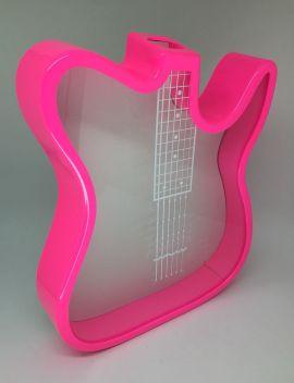 Guitarra Porta Rolhas ou Cofre em Polímero Rosa Neon  P/ Sublimação