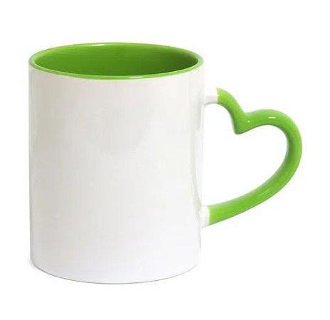 Caneca Love Branca para Sublimação com Alça e interna Verde Claro - 36 Unidades