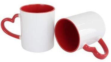 36 Caneca Love Branca para Sublimação com Alça e Interior Vermelho