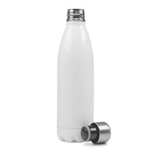 Garrafa Térmica em Aço Inox Branco com Parede Dupla - 500ml