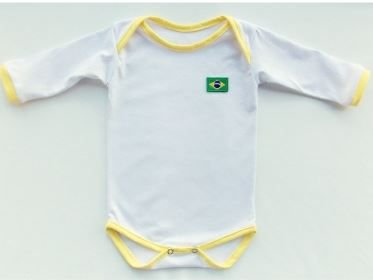 Body Baby Branco Com Viés amarelo Manga Longa Sublimação