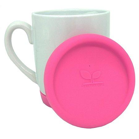 Caneca com Tampas e base de Silicone P/Sublimação Pink