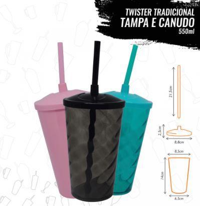COPO TWISTER C/ TAMPA E CANUDO - 500ML