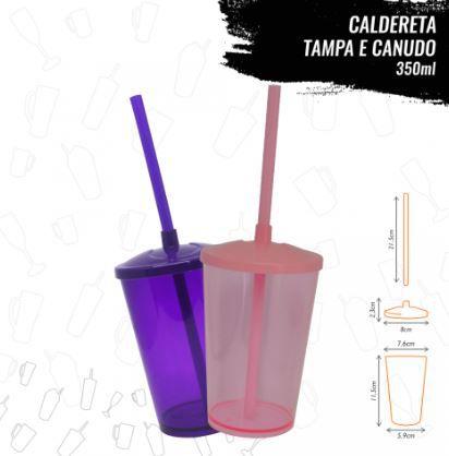 CALDERETA COM TAMPA E CANUDO 350ml