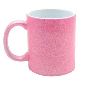 Caneca P/Sublimação Glitter Rosa