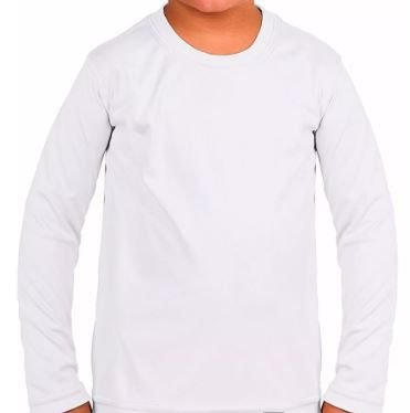 Camiseta Infantil Manga Longa com Proteção Solar UV (Poliester) - Aceita Sublimação - Branca