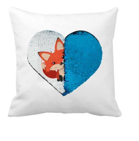 OBM - Aplique de Lantejoulas Coração Azul Claro e Branco - 19x22cm