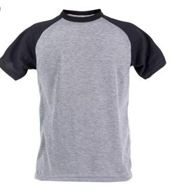 Camiseta 100%  Poliester Raglan Mescla Com Preto