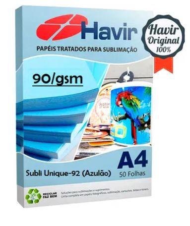 Papel  Sublimatico Havir Unique A4 90g (Azulão) - Pct 250 Fls
