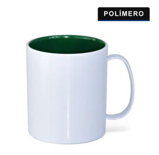 Caneca Polimero Branco Interno Verde Escuro