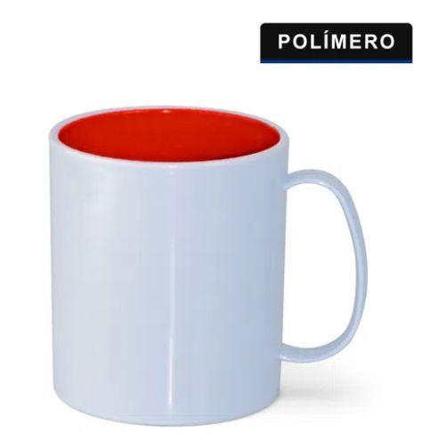 CANECA POLIMERO BRANCO INTERNA VERMELHO - TETEU