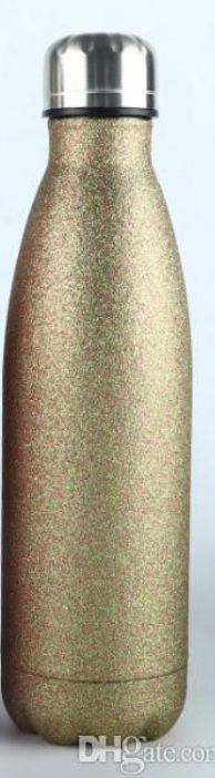Garrafa Térmica para Sublimação GLITTER Dourada com Parede Dupla - 500ml
