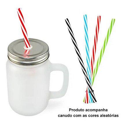 Caneca Mason Jar de Vidro Jateada - 350ml