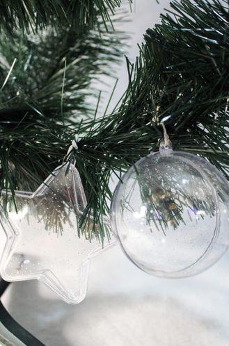 Bola de natal acrilica modelo estrela com Glitter - personalizavel. 6.5 cm Pct 10un