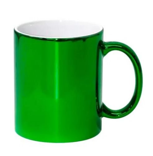 Caneca para Sublimação de Cerâmica Cromada Verde