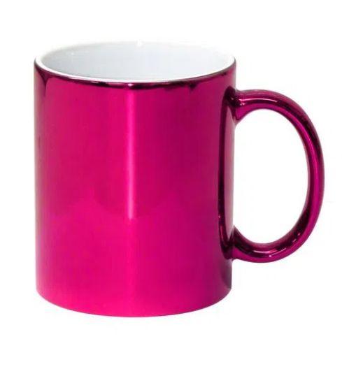 Caneca para Sublimação de Cerâmica Cromada Pink