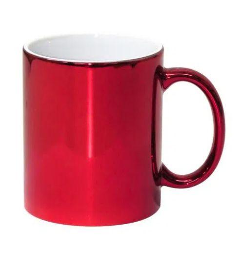 Caneca para Sublimação de Cerâmica Cromada Vermelha