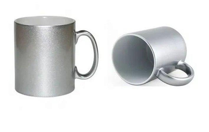 Caneca para Sublimação de Cerâmica Metalizada Prata - 1un