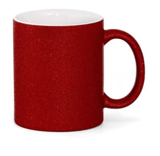 Caneca para Sublimação de Cerâmica Glitter Vermelha Importada Live
