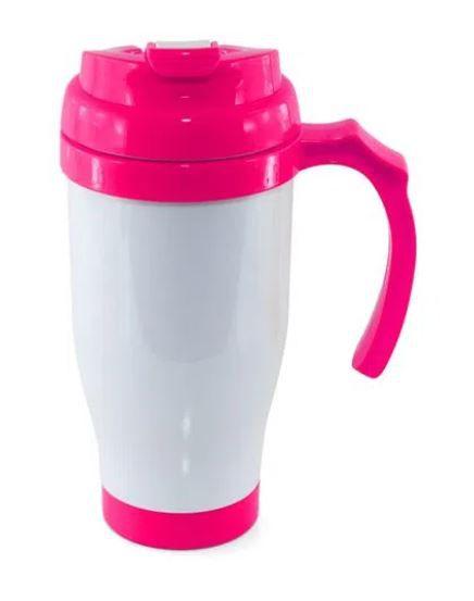 Copo Térmico de Plástico para Sublimação com Tampa Bico, Alça e Fundo Pink - 475ml