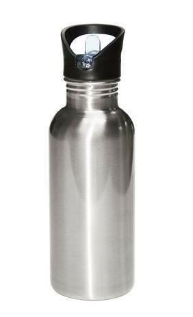 Garrafa Squeeze de Alumínio Prata com Bico Modelo Cantil 600ml para Sublimação