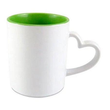 Caneca Love Branca para Sublimação Interior Verde Claro - 1 Unidade