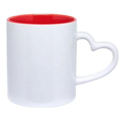 Caneca Love Branca para Sublimação Interior Vermelho