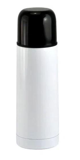 Garrafa Térmica Branca com Parede Dupla e Tampa Preta - 500ml