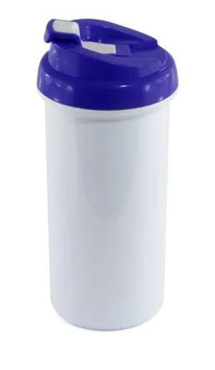 Squeeze de Plástico Branco para Sublimação com Tampa Azul - 475ml