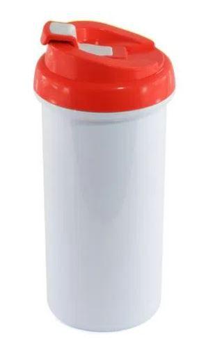 Squeeze de Plástico Branco para Sublimação com Tampa Vermelha - 475ml