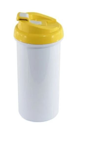 Squeeze de Plástico Branco para Sublimação com Tampa Amarelo - 475ml