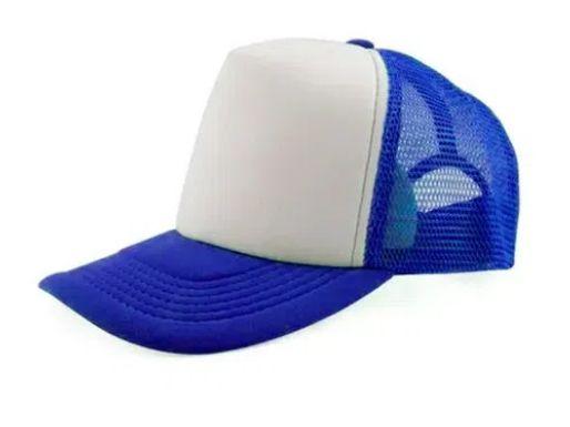 Boné de Tela com a Frente Branca para Sublimação Livesub - Azul
