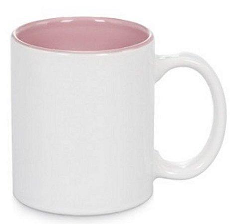 Caneca para Sublimação de cerâmica Branca com Interior Rosa - Live