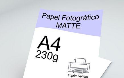 Papel Fotográfico Matte (Fosco) A4 230g - 20 Folhas - 1 Pacote