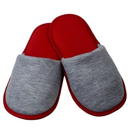 Pantufa para Sublimação Vermelha / Cinza - Adulto