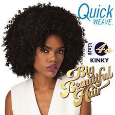 HALF WIG QUICK WEAVE BIG BEAUTIFUL HAIR 4A KINKY (Cor 1b/33)