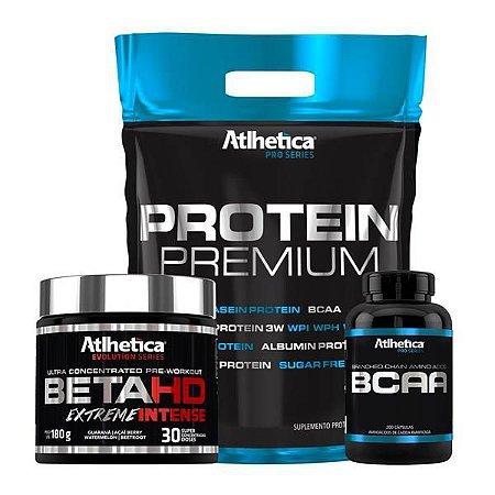 Kit com Protein Premium (1,8kg) + BetaHD (180g) + BCAA ProSeries (120caps)