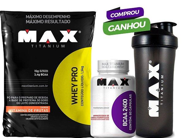 Kit Max 1 - Whey 1,5kg  + BCAA 200 caps  + Shakeira