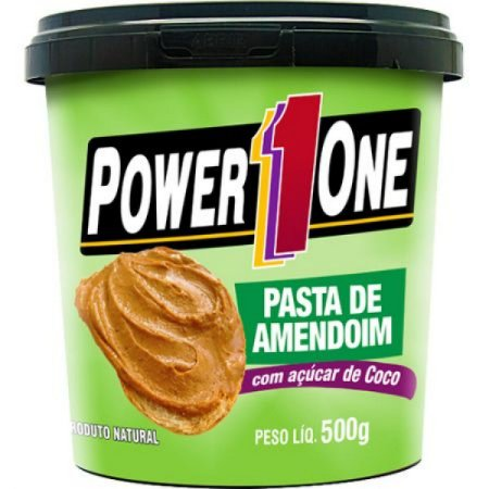 PASTA DE AMENDOIM C/ AÇUCAR DE COCO 500G POWER ONE