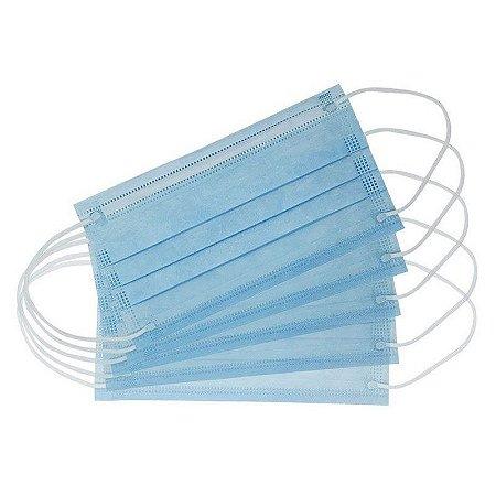 Máscara Tripla Azul Com Elástico E Clipe Pct 50un Dejamaro